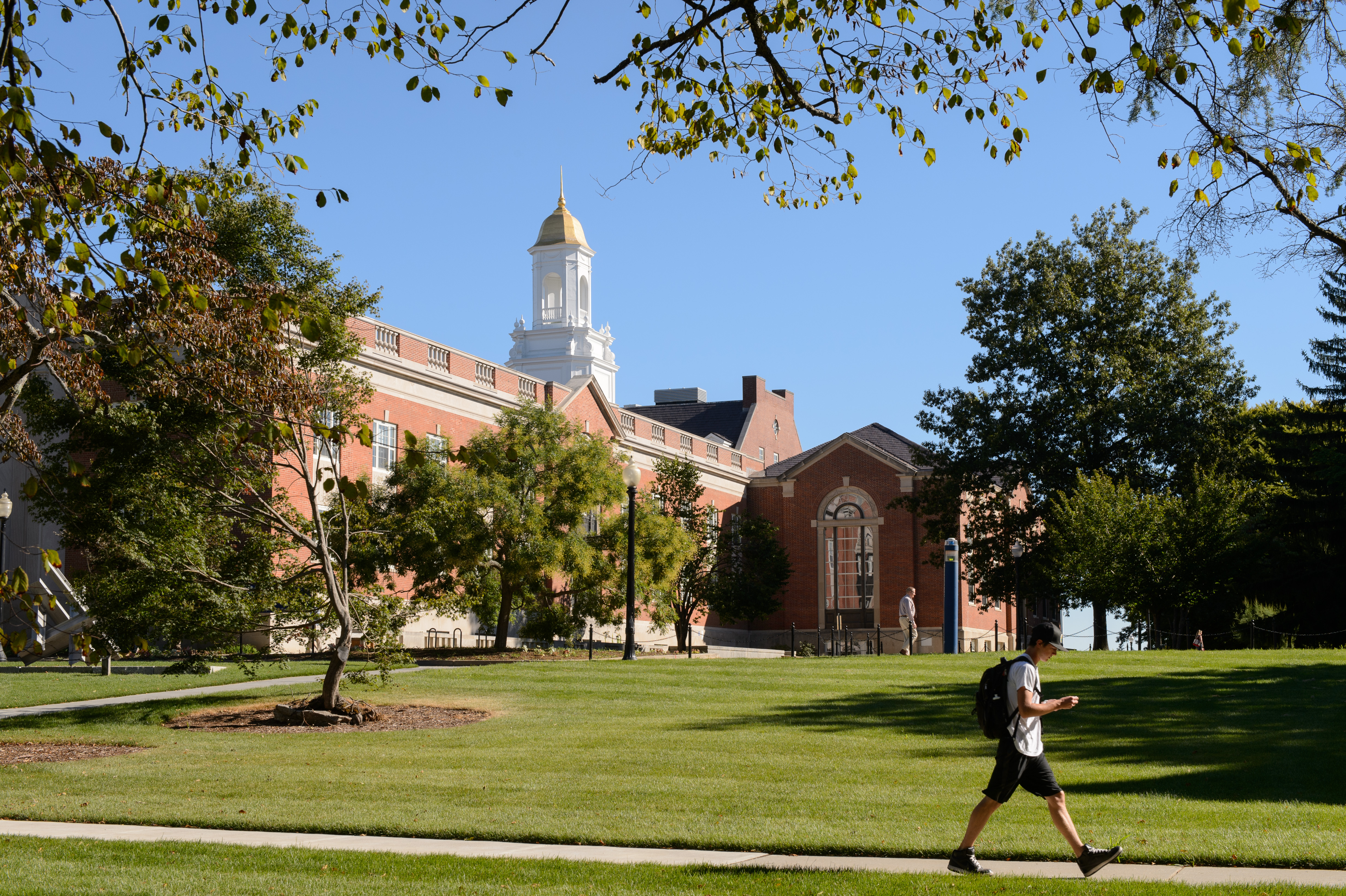 A view of the Wilbur Cross Building on Aug. 29, 2012. At left is (Peter Morenus/UConn Photo)