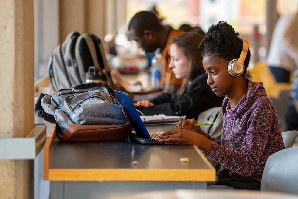 Students studying in the Homer Babbidge Library's Bookworms Café