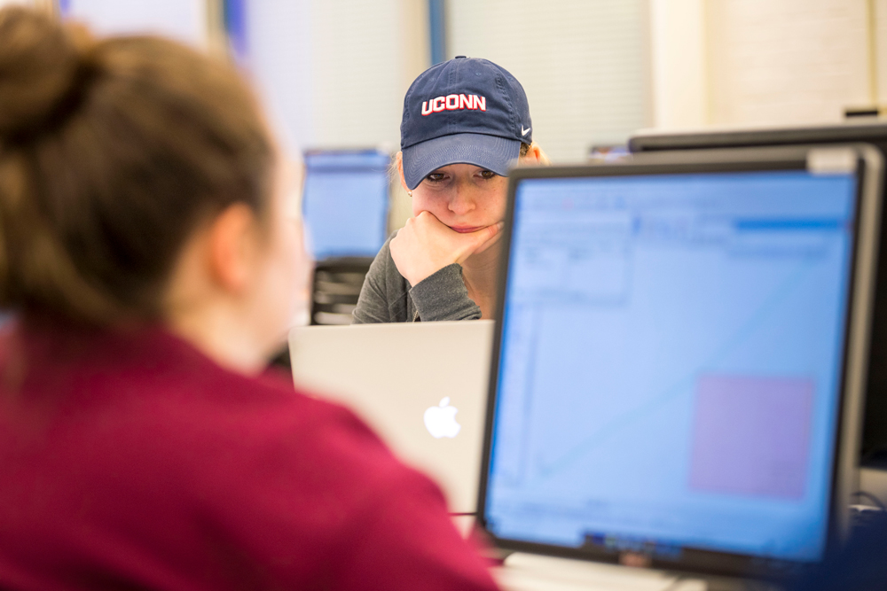 Erica Gambino '19 (ENG) in her Computer Aided Design class at the School of Engineering's Castleman Building