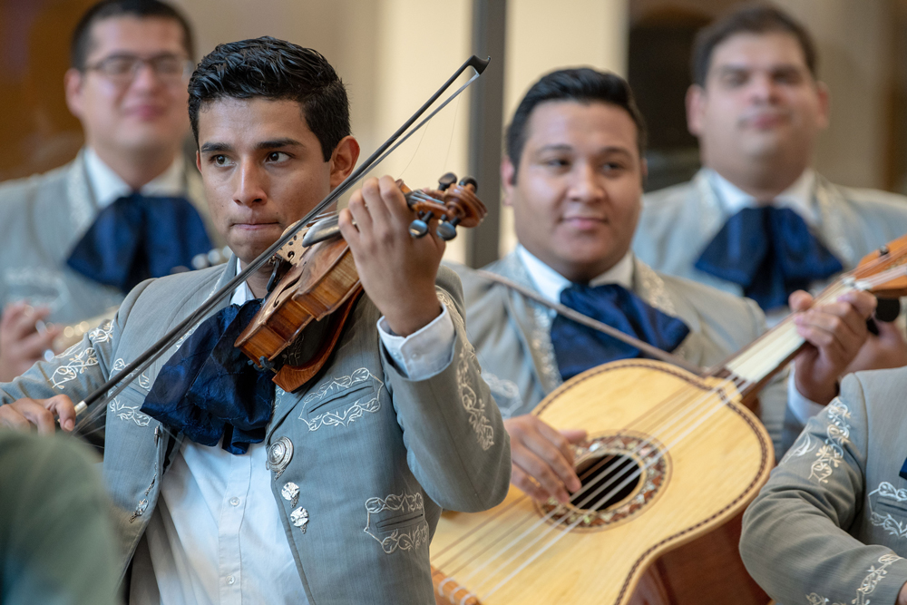 At left, Erick Castro and Rodbel Virula play to a full crowed at the Hartford Campus